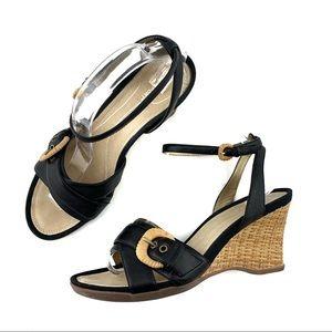 Rockport Wedge Heel Sandals Black Leather Size 10